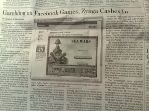 snap of wall street journal article on zynga 23 july 2008