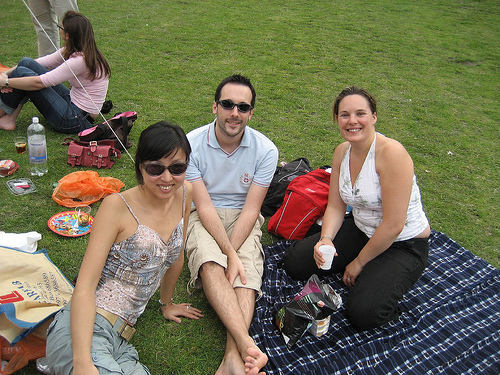Friends enjoy a picnic in Battersea Park