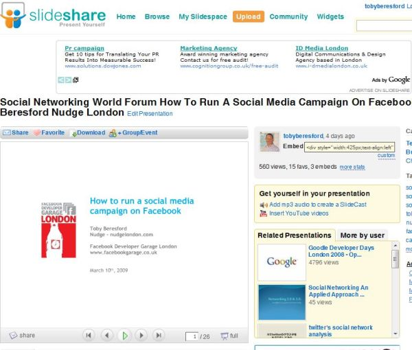 Hey I made it to the slideshare home page