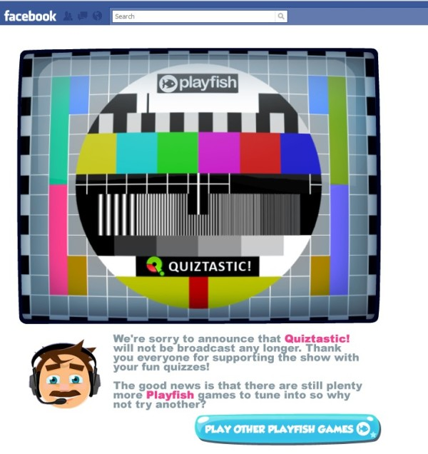 Quiztastic's close down image is a test card from TV days