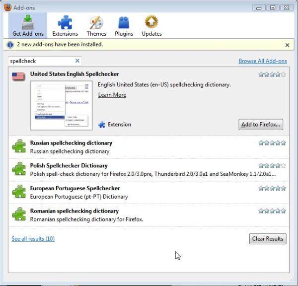 Installing a SpellChecker on Firefox